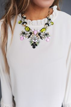 Green/Pink Stone Statement Necklace - Dottie Couture Boutique