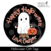 Halloween Gift Tags with Ghost on Black