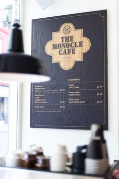 the monocle cafe Restaurant Branding, Cafe Restaurant, Restaurant Design, Menu Design, Cafe Design, Monocle Cafe, Cafe Menu Boards, Coffee Shop Menu, Organic Restaurant