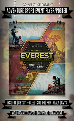 Buy Adventure Sport Event Flyer / Poster by on GraphicRiver. Adventure Sport Event flyer templates or poster template designed to promote any kind of music event, concert, festiv. Event Poster Design, Creative Poster Design, Flyer Design, Sports Graphic Design, Travel Ads, Event Flyer Templates, Poster Making, Design Reference, Hoist Fitness