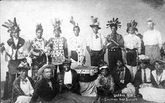 Chippewa dancers in costume, Wahkon.
