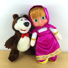 Soft Russian Masha And Bear Doll Soft Stuffed & Plush Martha Bear Animals Reborn Plush Dolls Juguete Baby Toys For Girl