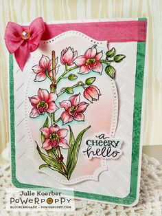 Out To Impress: Power Poppy Sneaks Day 1: Orchids Rock Stamp Set by Power Poppy, card design by Julie Koerber.