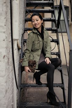Winter Casual: Army jacket, booties + leopard clutch by Extra Petite