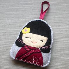 Chinese girl felt hanging ornament By kirakirahoshi @Tony Wang: Felt decoration ornament for hanging on the wall, on the door, on the tree, inside your car or anywhere you want ...