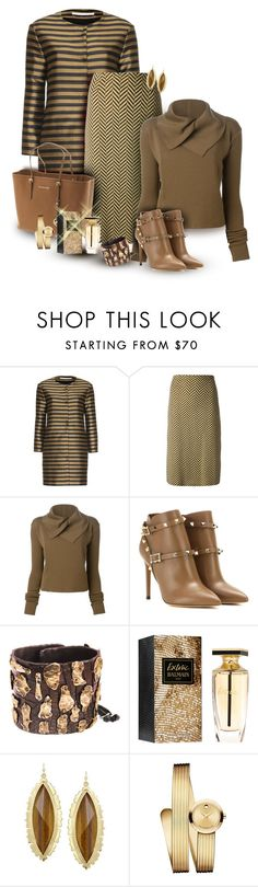 """""""Rich Autumn Browns"""" by franceseattle ❤ liked on Polyvore featuring Schumacher, Biba, Rick Owens, Valentino, Trilogy, Michael Kors, Michele Lerner, Balmain, Kendra Scott and Movado"""