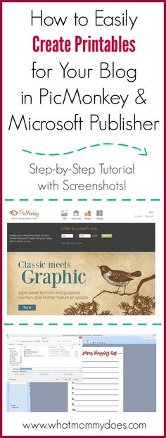 This free tutorial teaches you how to make printables in PicMonkey & Microsoft Publisher. It's such a simple to follow tutorial with screenshots! I make printables to sell on my blog and this is perfect for making to do lists and planner pages!