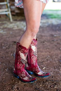 Red Cowboy Boots. Old Gringo Grace at RiverTrail in North Carolina.