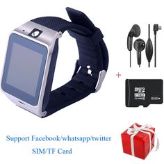 GV18 APLUS Smart Watch Phone SIM TF Card Bluetooth Camera Smartwatch For Android IOS With Headphones 8G Memory Card+Free Gift