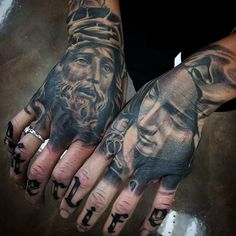 Jesus And Mary Male Hand Tattoos Realistic Design Ideas