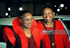 South African singer, composer, humanitarian and activist Miriam Makeba (L) with actress and South African vocalist Dolly Rathebe at Gold Reef City on February 19, 2001 in Johannesburg, South Africa . Makeba died Monday, November 10, after performing at a concert in Italy.