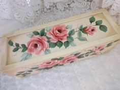 GA GA Gorgeous Box HP Roses Chic Shabby Vintage Cottage Hand Painted Victorian | eBay