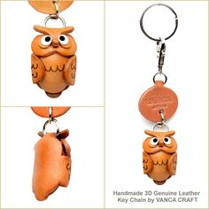 Small Keychains > Animal keychain - Owl Japanese Leather Keychains Animal 【Owl Goods】【Made in Japan】【Small Keychain】 - Ingeniously Handcrafted Genuine Leather dog/animal Keychain from Japan-VANCA - HANDCRAFTED-LEATHER.COM 【vanca craft inc. online store】