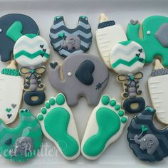 I love these colors together so much! These are for a sweet Baby boy Quentin. They match the invitation and colors of his bedding! Baby Shower Cookie Cutters, Baby Shower Cookies, Elephant Cookies, Sweet Butter, Cupcake Cakes, Cupcakes, Baby Bottles, Bedding, Baby Boy