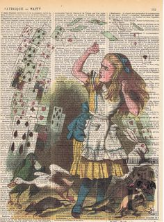 Alice in Wonderland.Recycled Vintage Book Page Print.playing card.repurposed.buy 3 get 1 free.child deco.birthday gift.fantasy.mom.christmas...