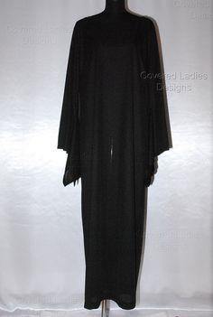 SALE Black Wing Sleeve Maxi Dress Hijab by CoveredLadiesDesigns, $49.00