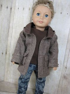 18 inch Doll Clothes American Girl Oxford Square Coat in Brown Houndstooth