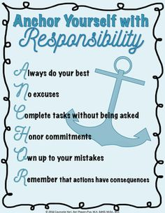 Classroom Guidance Lesson: Responsibility - ANCHOR Yourself ...