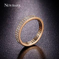 Find More Rings Information about NEWBARK Romantic Polish Round CZ Diamond 18K…