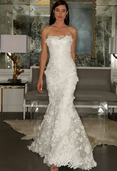 Ramona Keveza Fall 2015 Embroidered Applique Lace Trumpet Bridal Gown***