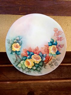 Limoges France Vintage Plate Yellow Roses  by WeFindVintage