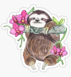 """""""Happy Sloth with orchids"""" Stickers by BeeHappyShop Tumblr Stickers, Cool Stickers, Printable Stickers, Planner Stickers, Sloth Drawing, Sloth Tattoo, Aesthetic Stickers, Spirit Animal, Sticker Design"""