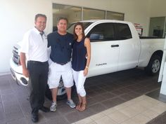 Larry and his daughter Lindsey with his shiny new, white 2013 #Tundra -- June 2013 -- Welcome to the #DavidMausToyota family! #ToyotaTundra #YeahItCanHandleYourBoat #ToyotaEndeavor