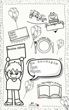 benim hakkımda bilgiler _kırtkırtla Preschool Games, Activities, Starting School, Grade 1, Back To School, Education, Comics, Mini, Good Manners