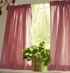 red white gingham cafe curtains for the kitchen