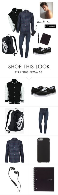 """Back to School Men Outfit"" by michael98 ❤ liked on Polyvore featuring Vans, NIKE, J Brand, Paul Smith, Case-Mate, Skullcandy, ACCO, Cartier, BackToSchool and men"