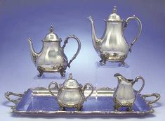 International silver American rose silverplate holloware 5 piece tea set with tray. Pinned by Keva xo.