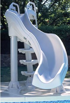 X tremendous pool slide Fast action swimming pool slide is the extreme water slide for in-ground swimming pools. Double turn swimming pool slide stands over 6 ft tall. Swimming pool slides and sliding boards at In The Swim. Swimming Pool Slides, Pool Water Slide, My Pool, Pool Fun, Water Slides Backyard, Summer Pool, Above Ground Pool Slide, Above Ground Swimming Pools, In Ground Pools