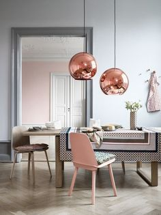 Yellows » H&M home - pinks and copper tones with grey..