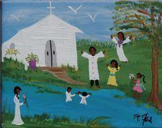 PRIMITIVE SOUTHERN  FOLK ART ORIG. PAINTING  by P.Ford BLACK AMERICANA #BlackFolkArt
