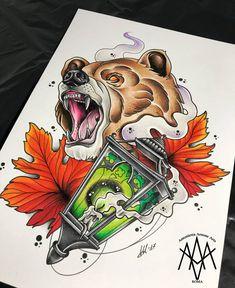 Bear neotraditional tattoo by AntoniettaArnoneArts on DeviantArt - Tattoo MAG Traditional Bear Tattoo, Neo Traditional Art, Traditional Tattoo Sketches, Traditional Tattoo Design, Book Tattoo, Tatoo Art, Tattoo Drawings, Wolf Tattoos, Animal Tattoos