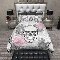 Pink and Grey on White Flower Skull Duvet Bedding Sets