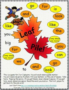 FREE autumn sight word board game.