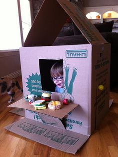 Cardboard Box House - because we're moving...