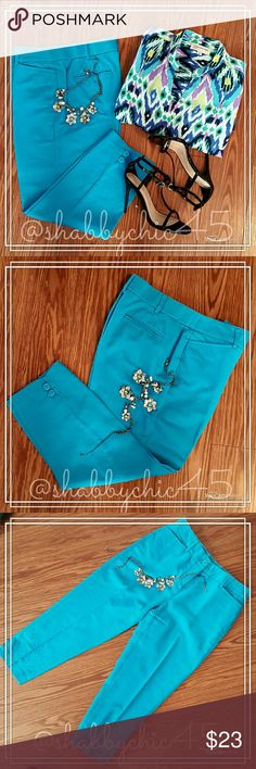 Sweet Summer Teal Capris Pants by Counterparts EUC LIKE NEW!! These cute capris pants are a vibrant teal blue and super comfortable with just the right amount of stretch without losing their shape. Very gently used and very well cared for! Very versatile! Dress them up with some cute strappy heels or go a little more casual and strap on your favorite pair of sandals for a day on the beach! Your go-to staple.   ??Smoke free home. No trades. Open to reasonable offers unless marked as firm.?…