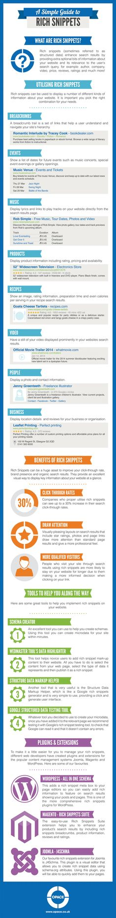 A Simple Guide to Rich Snippets #infographic | via #BornToBeSocial - Pinterest Marketing