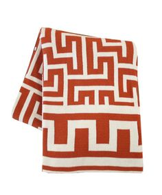 Greek Key Throw Blanket, Persimmon Orange