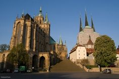 Most of the Dom is Gothic and dates from the 14th and 15th centuries, but the lower parts of its huge towers are Romanesque and belonged to a church built on this site for Bishop Boniface in 742.    On April 3, 1507, Martin Luther was ordained a priest in Mariensdom (see Luther in Erfurt and The Luther Trail).