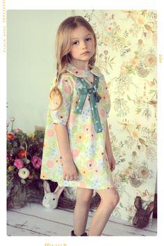 Le Petite Fleuriste Peter Pan Collar Bow Shift Dress by Fleur + Dot #kids #fashion #spring www.FleurandDot.com