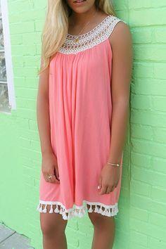 Delightful Lace Tassel Pleated Mini Dress - OASAP.com