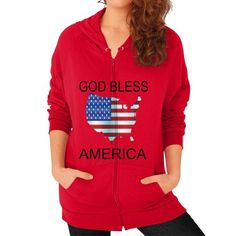 GOD BLESS AMERICA ON AMERICAN APPAREL Zip Hoodie (on woman)