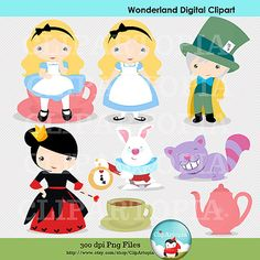 Wonderland Digital Clipart / Alice Tea Party Digital Clipart for Personal and Commercial Use / INSTANT DOWNLOAD