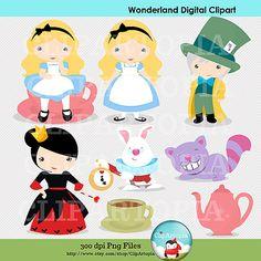El Pais de la Marvillas / Alicia fiesta de Te Digital Clipart para uso personal y comercial