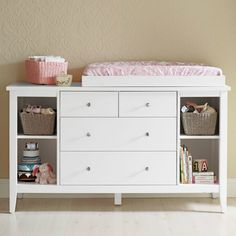 Furniture, Small Wood Baby changing table Dresser Organization with drawer and … - Baby Dress White Changing Table Dresser, Changing Table Topper, Baby Changing Tables, Changing Table Organization, Dresser Organization, Baby Changer, Baby Dresser, Long Dresser, Ikea Baby