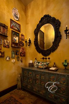 Hacienda: Mission Casual - mexican decor. I love this I have a wall like this in my bedroom... Love...Love..