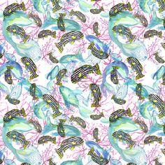 Estampado peces y corales / Coral and fish pattern by isamartierra